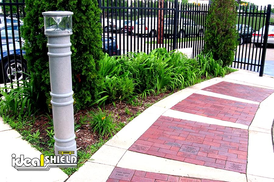 Ideal Shield's light grey UV Lighted Bollard Cover