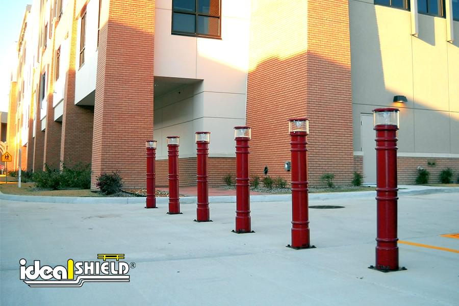 Ideal Shield's red UV Lighted Decorative Bollard Covers
