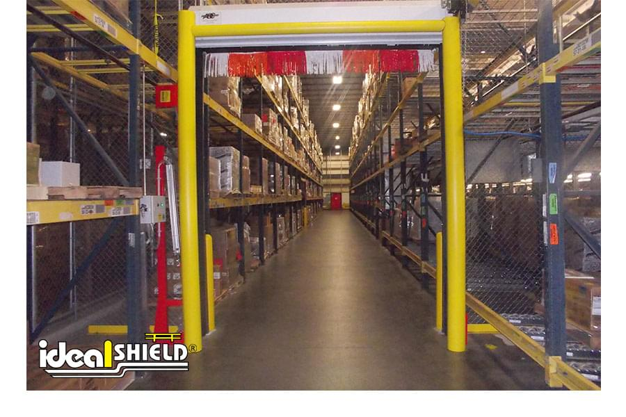 Ideal Shield's Goal Post protecting distribution center's aisle way