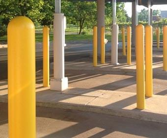 Drive-thru Banking Yellow Bollard Cover