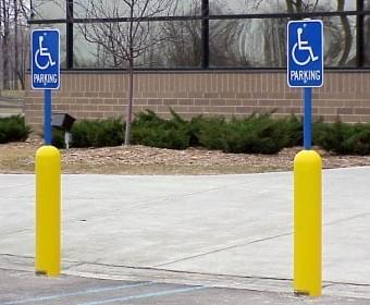 Ideal Shield's handicap bollard sign systems