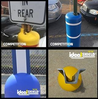 Ideal Shield's bollard sign system compared to the competitor