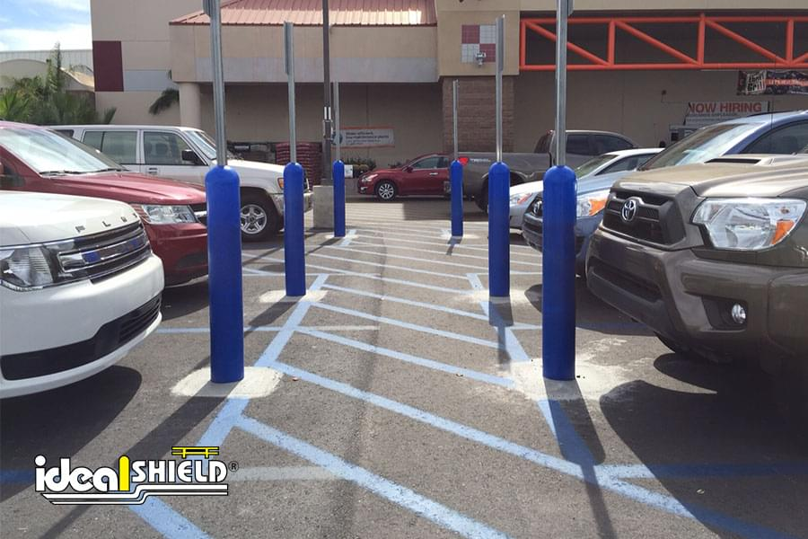 Ideal Shield's blue bollard sign systems at Home Depot