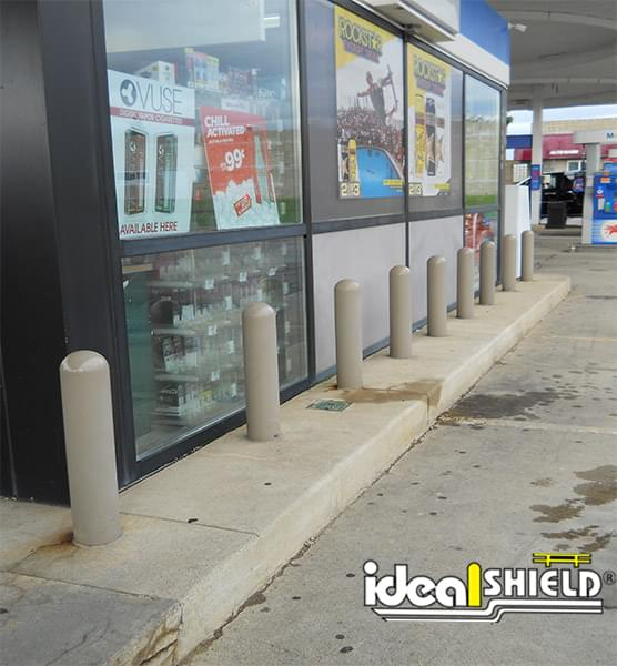 Ideal Shield's light gray bollard covers at Mobil