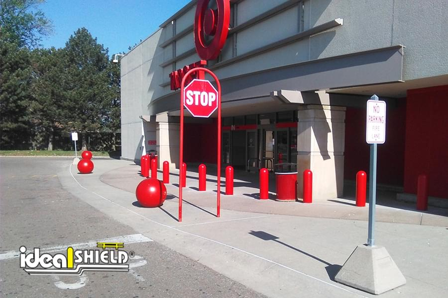 Red bollard covers at Target