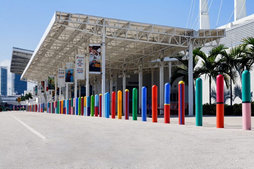 Ideal Shield's custom color Bollard Covers for the Port of Miami