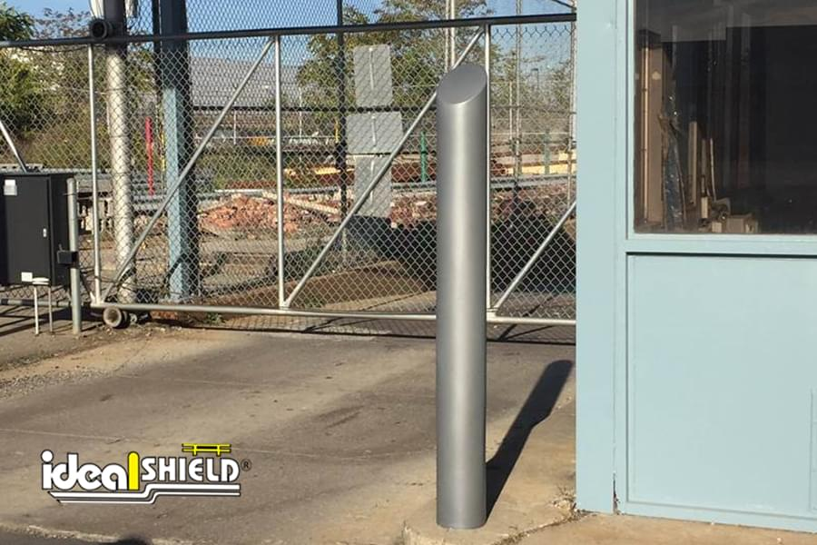 Ideal Shield's metallic silver Skyline decorative bollard cover