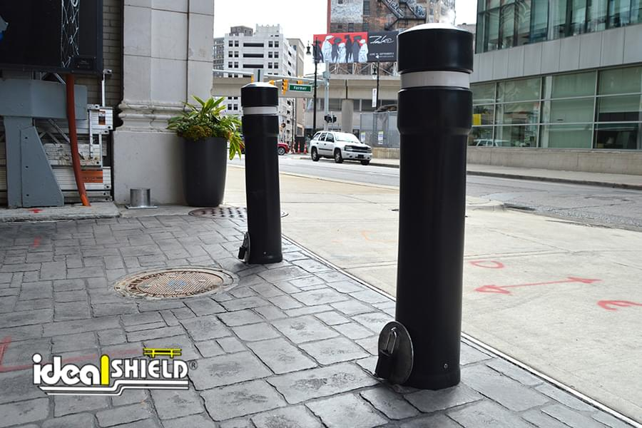 Ideal Shield's Removable Locking Bollards guarding a pedestrian alleyway in downtown Detroit