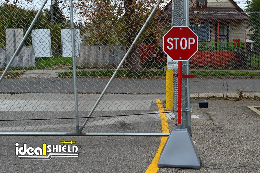 Ideal Shield's metallic silver sign base used for a stop sign