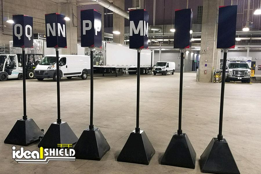 Ideal Shield's black plastic sign bases at US Bank Stadium