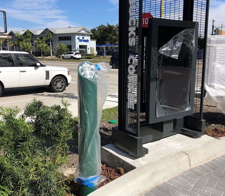 Ideal Shield's custom made Skyline Decorative Bollard Covers at Starbucks