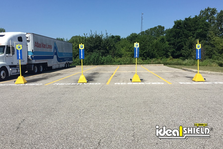 Ideal Shield's Sign Bases used for reserved parking spots at truck stops