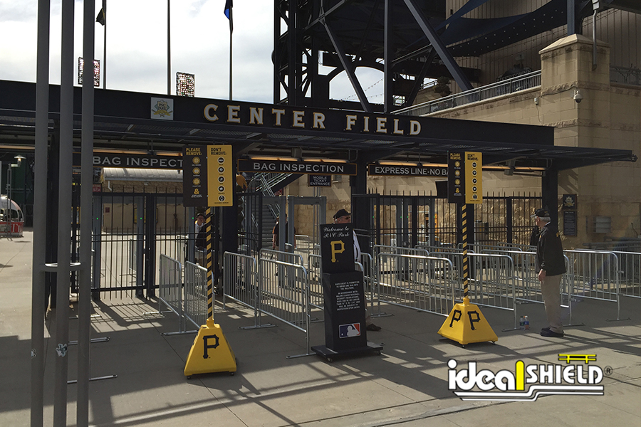 Ideal Shield's portable Sign Bases with custom branded logos at the Pittsburgh Pirates stadium, PNC Park.