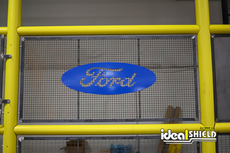 Ideal Shield's Safety Wall Guard with custom Ford infill panel
