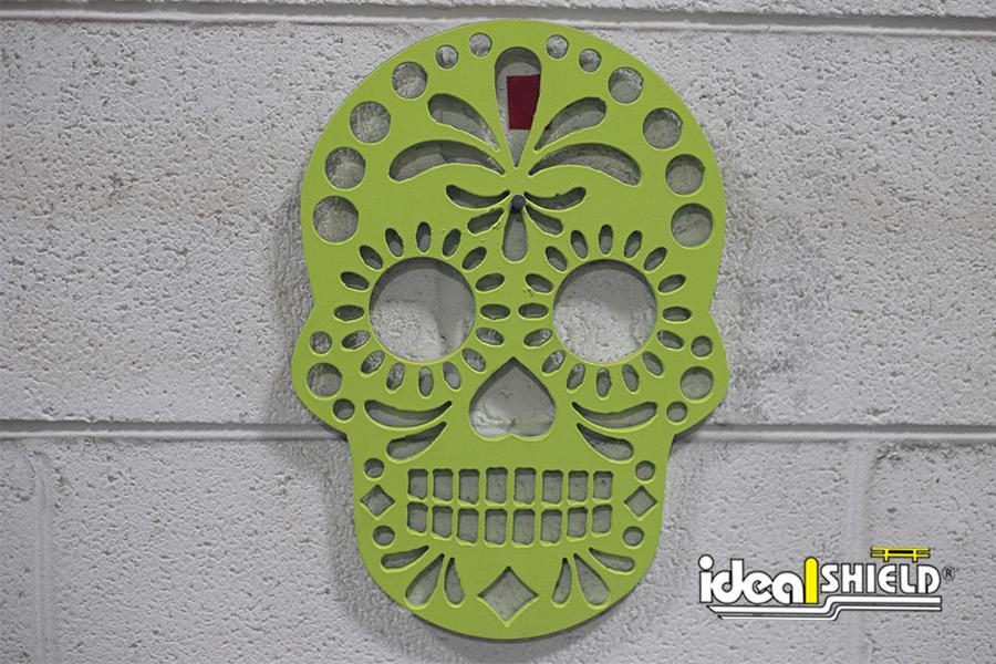 Custom metal art Sugar Skull made by Ideal Shield