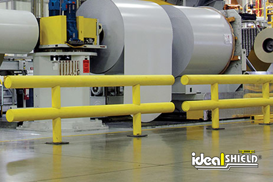 Ideal Shield's Heavy Duty Industrial Warehouse Guardrail protecting critical assets