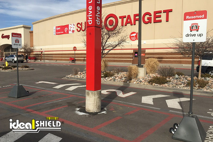 Ideal Shield's Portable Sign Bases for Target's Curbside Pickup parking spots