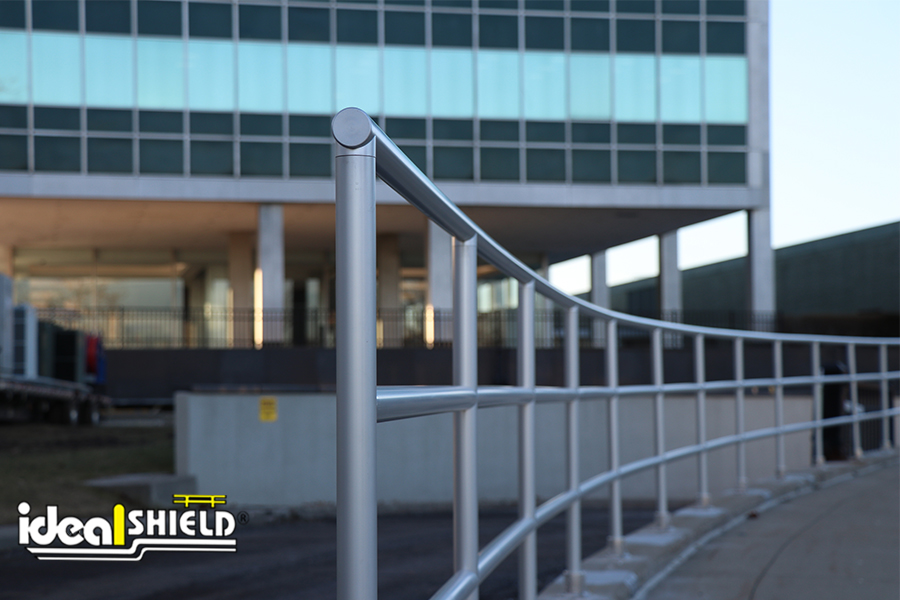 Ideal Shield's Aluminum Handrail lining the drop off area at Ford Motor Company headquarters