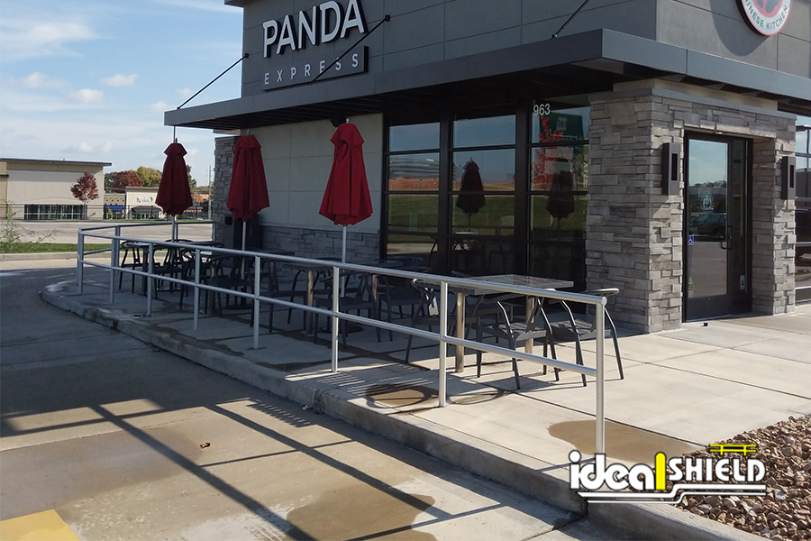 Ideal Shield's Aluminum Handrail lining the outdoor dining patio at Panda Express