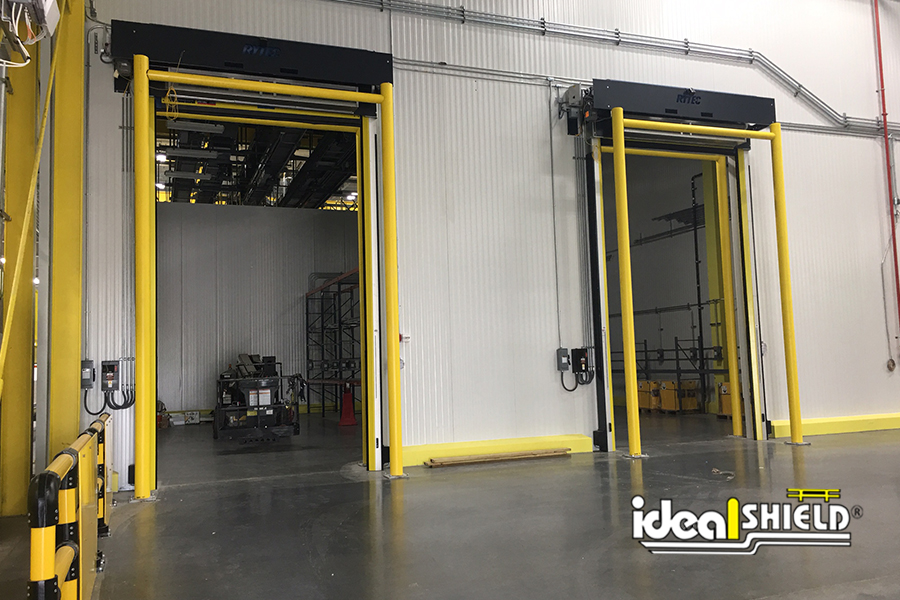Ideal Shield's Goal Post Guardrail used for overhead high speed door protection