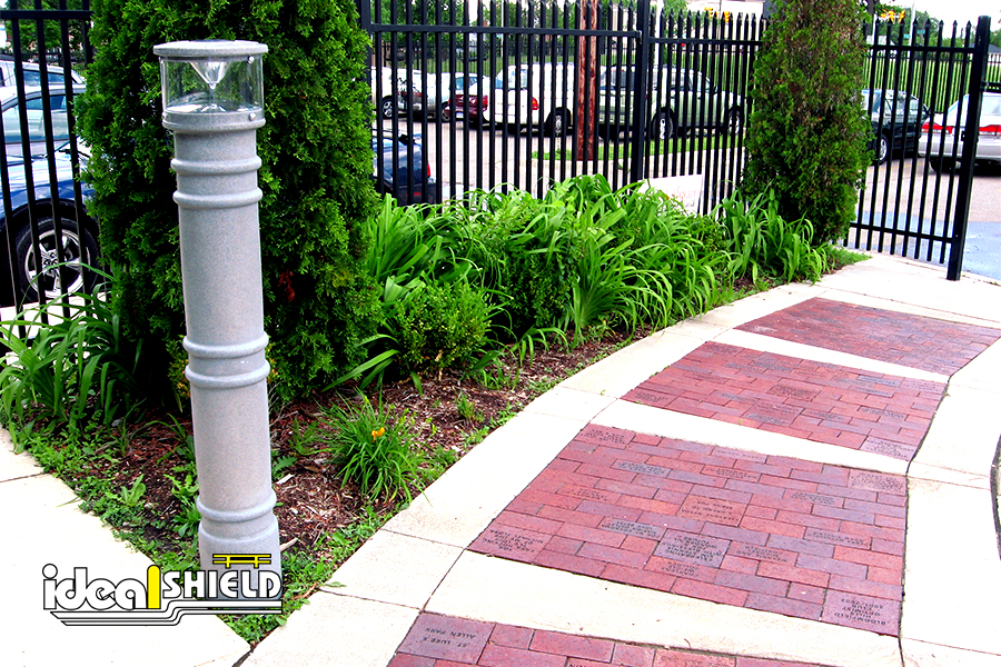 Ideal Shield's UV Lighted Bollard Cover used for accent pathway lighting