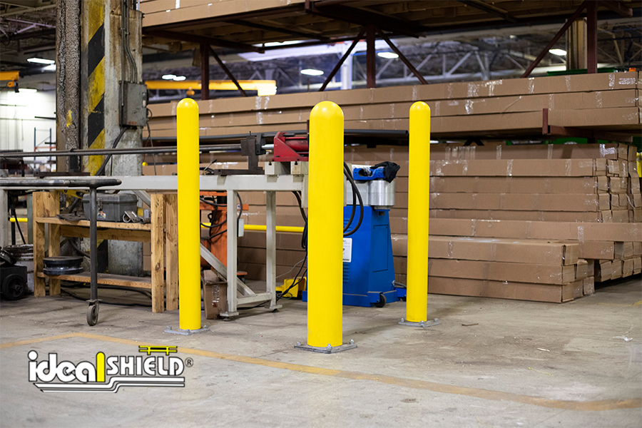Ideal Shield's Base Plate Bollards guarding in-plant machinery