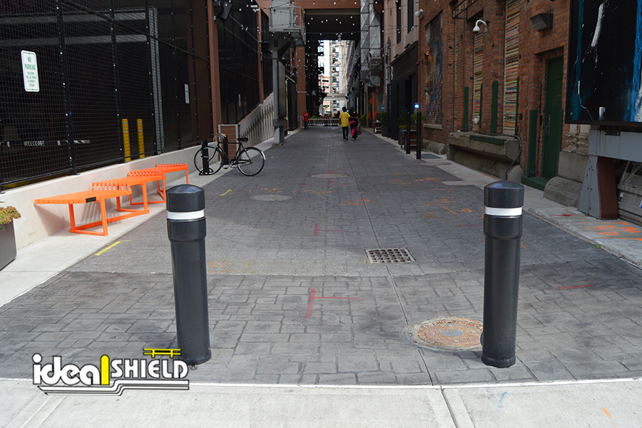 Ideal Shield's Removable Locking Bollards in Downtown Detroit