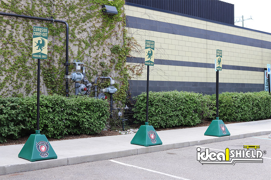 Ideal Shield's Curbside Pickup Pyramid Sign Bases at Griffin Claw Brewery
