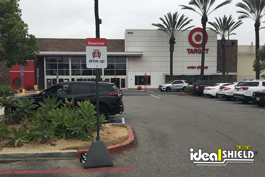 Ideal Shield's Gray Pyramid Sign Bases used for Target's Curbside Pickup program