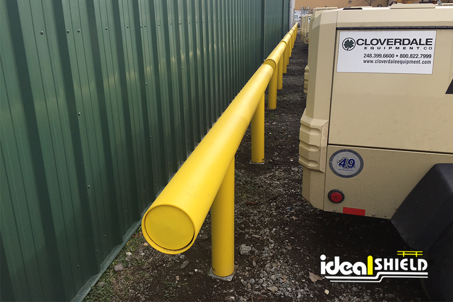 Ideal Shield's Standard Industrial Guardrail used for parking protection