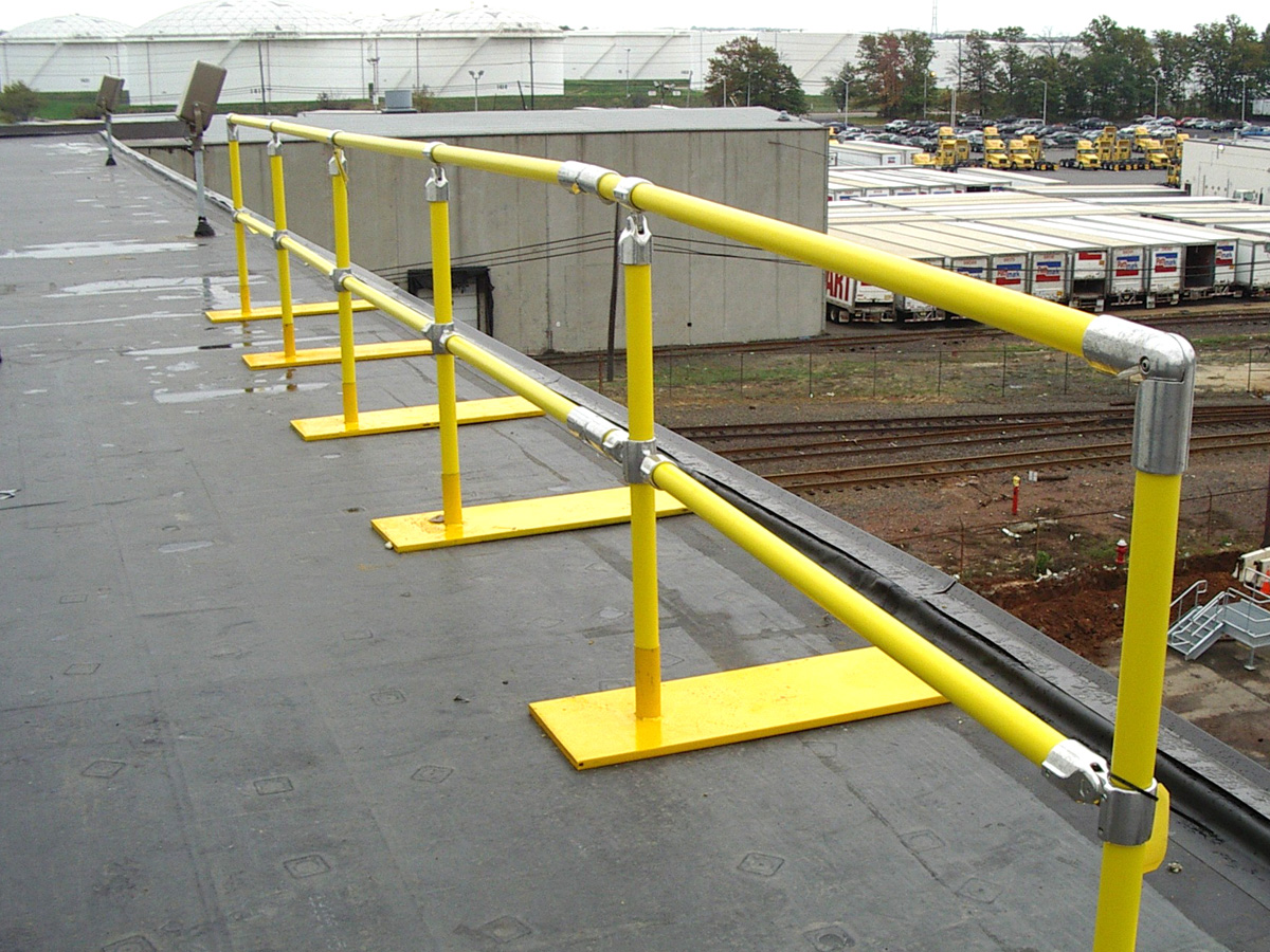 Ideal Shield's Roof Fall Protection Railing with weighted base plates