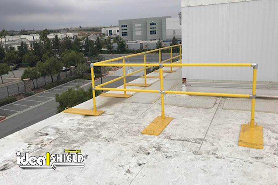 Ideal Shield's Steel Pipe & Plastic Roof Fall Protection Railing