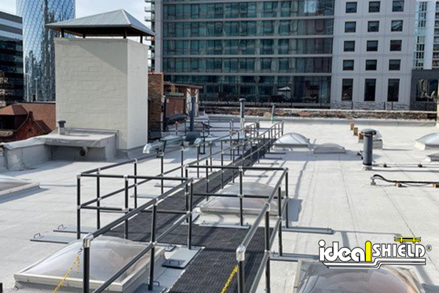 Ideal Shield's Aluminum Roof Fall Protection Railing in Chicago