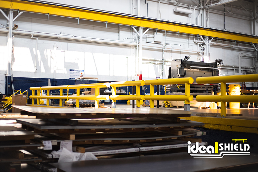 Ideal Shield's Heavy Duty Guardrail installed at a manufacturing facility to protect forklifts from fall off the edge