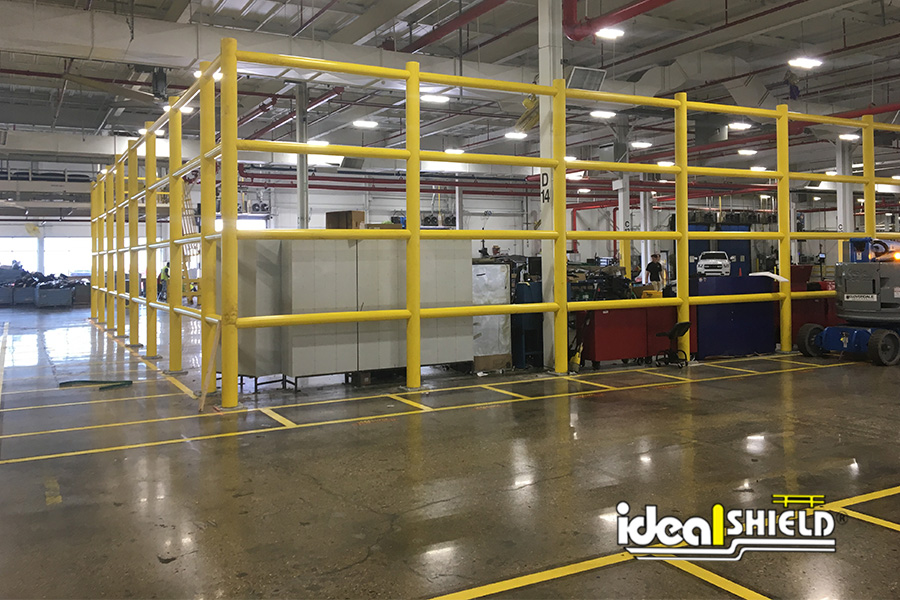 Ideal Shield's Safety Wall Guardrail used for a storage enclosure at a manufacturing facility