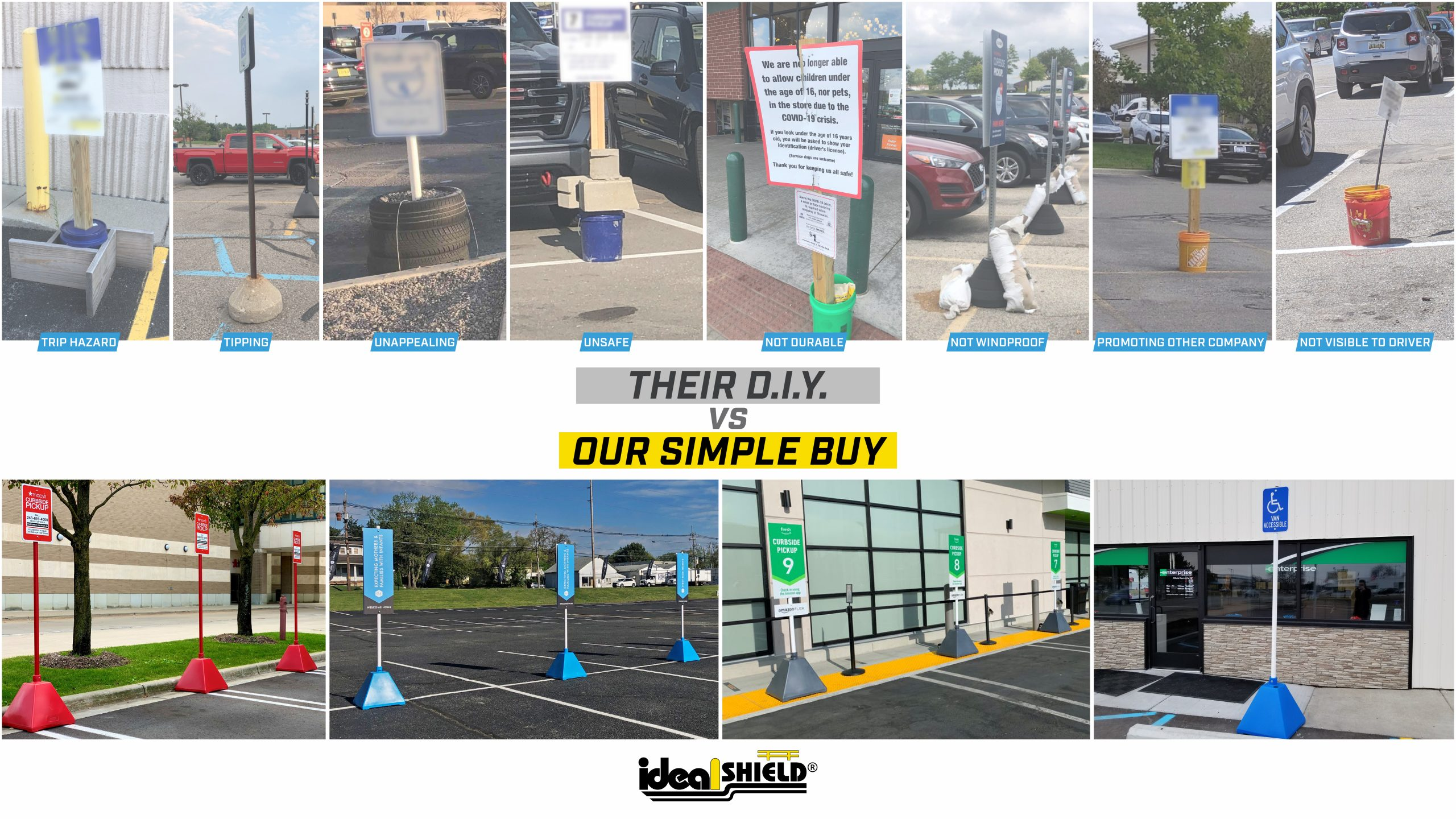 Ideal Shield's Curbside Pickup Sign Systems compared to DIY signs